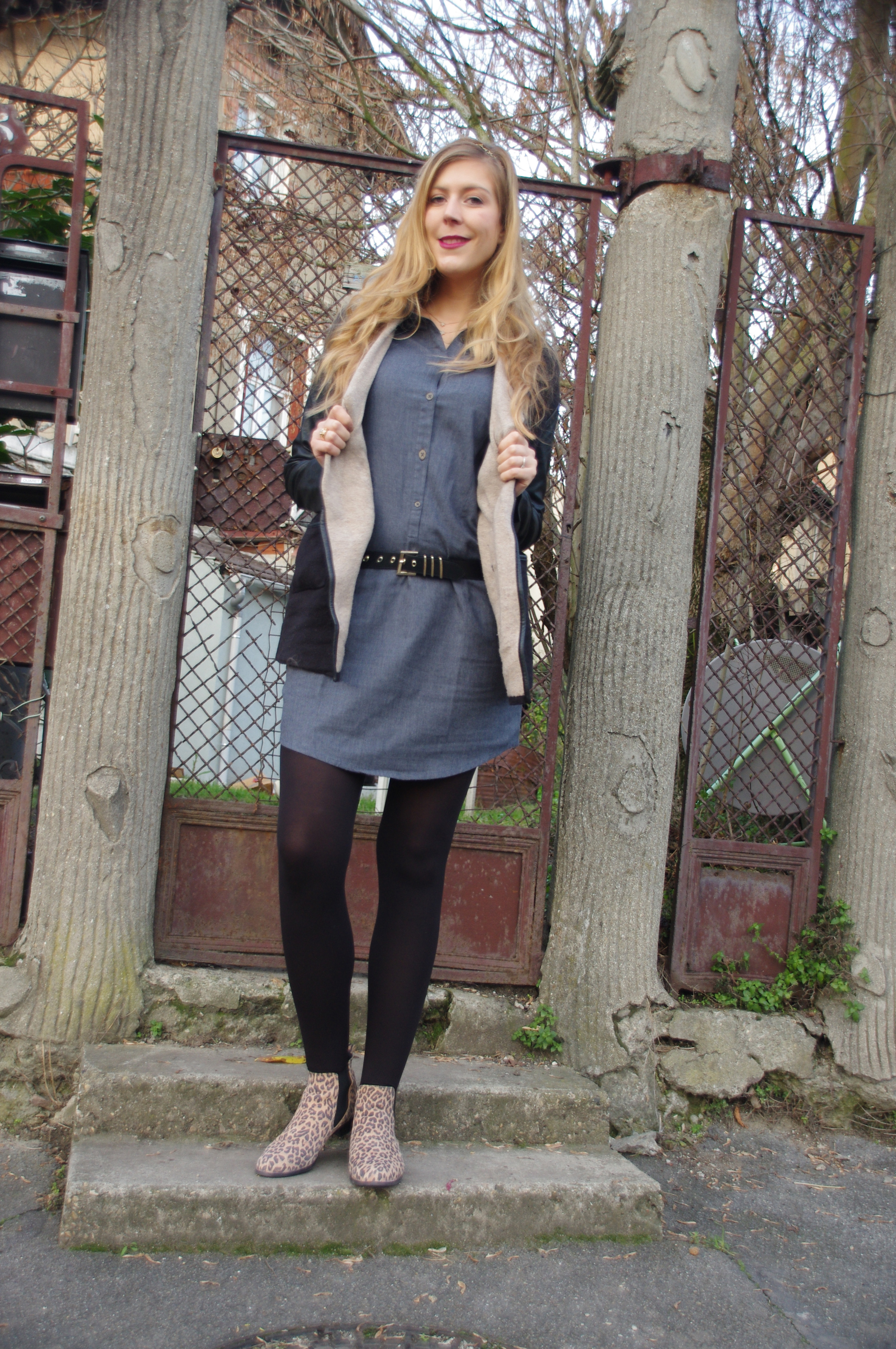 Look hiver, tenue grand froid, Doudoune, derhy, Robe thermolactyl, robe chemise, robe en jean, boots leopard, la halle, damart