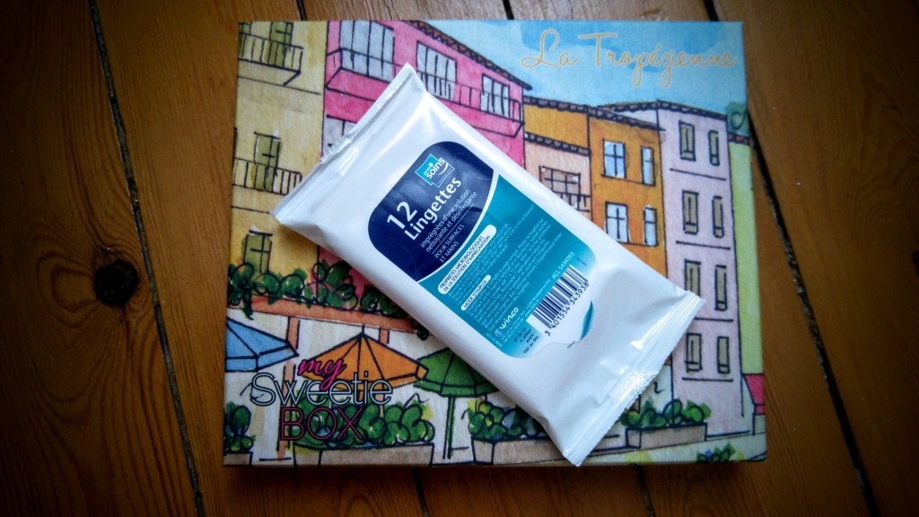 box beauté, review, revue, haul, avis, test, my sweetie box, la tropezienne, aout 2016, blog mode, blogueuse mode, lingettes antibacterienne de sac