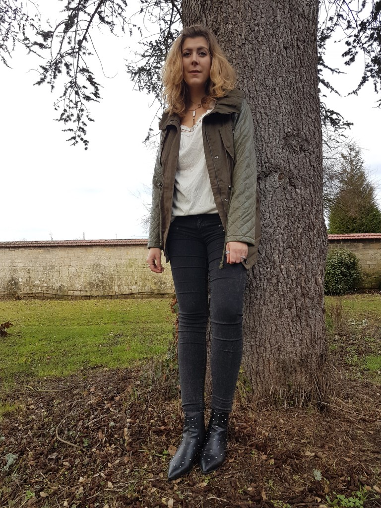 Look, ootd, tenue du jour, lookbook, tendance, trenbook, blog mode, blogueuse mode, parka kaki, tenue printemps, look mi saison, youtubeuse