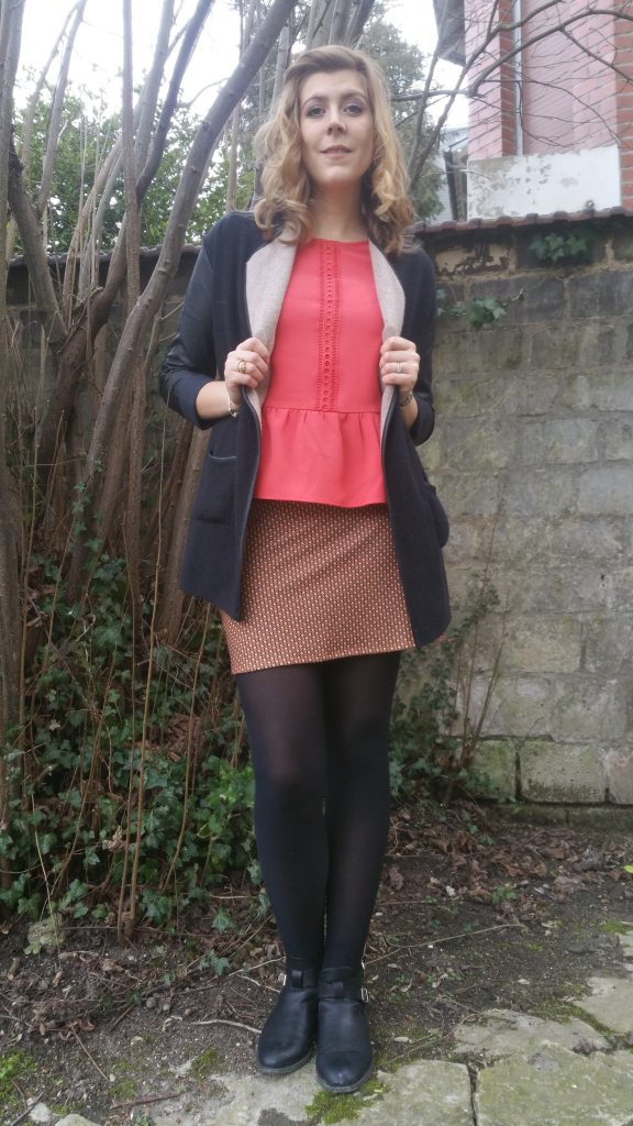 look, ootd, tenue du jour, ootn, look tendance, look sixties, look 60's, look seventies, top basques, corail, derhy, jupe retro, lefties, boots cut out, babou, gilet bimatière, gilet cuir, blog mode, blogueuse mode