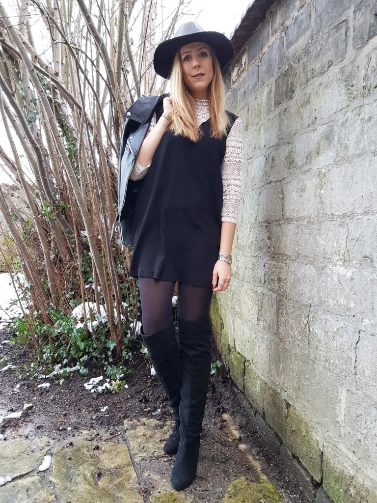 robe chemise, robe dentelle, look noir et blanc, black & white, outfit, ootd, ootn, party look, tenue de soirée, look rock, glamrock, perfecto cuir, fedora, cuissardes suédine, blog mode, blogueuse mode, missglamazone