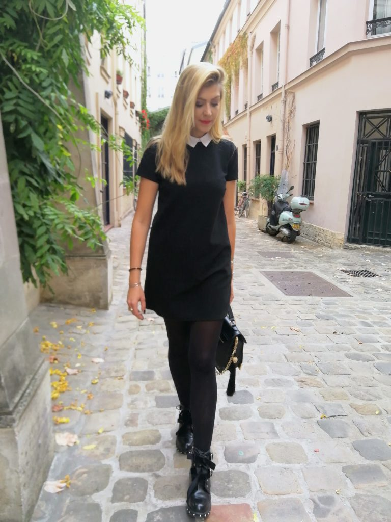 look rock, rock'nchic, robe mercredi adam, robe noir col blanc, bottines rock, bottines clous, tenue rock, perfecto cuir, blouson motard, outfit of the day, idée look mi saison, blog mode, blogueuse mode, missglamazone